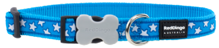Red Dingo Dog collar White stars on turquoise blue